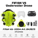 Drone sous-marin Caméra photo Fifish V6 QYSEA Grand angle 162˚ 6 Directions de mouvement 4K UHD 12 Mp Câble 100 m profondeur Lunettes VR 64GB Enregistrement Photo Vidéo Pêche Monde Sous-marin 843823
