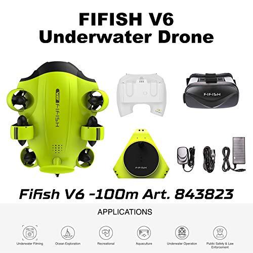 Dron submarino Cámara Fifish V6 QYSEA Amplio Ángulo 162˚ 6 Direcciones de movimiento 4K UHD 12 Mp Cable 100 metros Profundidad VR Gafas 64GB Video Fotograbación Pesca Mundo Submarino 843823
