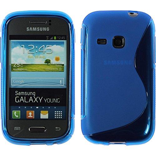 PhoneNatic Case kompatibel mit Samsung Galaxy Young - blau Silikon Hülle S-Style + 2 Schutzfolien