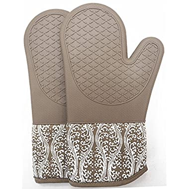 Professional microwave silicone oven mitts for one pair, kitchen lines set for heat resistant with 500 degrees, kitchen gloves pot holder for BBQ cooking, baking, Grilling machine washable (brown)