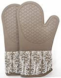 RED LMLDETA Professional Microwave Silicone Oven Mitts for one Pair, Kitchen Lines Set for Heat...