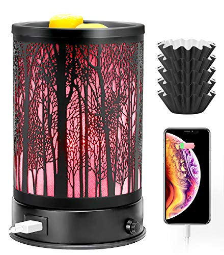 Hituiter Wax Melt Warmer for Scented Wax with USB Charging 7 Colors LED Lighting Oil lamp Wax Melts Burner Electric Melter Candle Warmer Classic Black Forest Design for Fragrance Home Décor,Gifts
