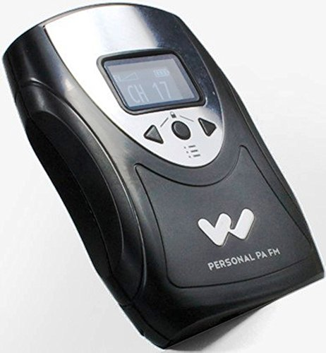 """Williams Sound PPA T46 Personal PA Body-Pack Transmitter, Black/Silver, 1.25"""" OLED Interface displays (Master & aux Volume Level, mic Mute, Settings Lock, Battery Level)"""
