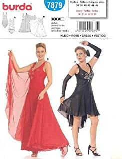 Burda 7879 Pattern, Womens/Misses' Fitted Dance Dress, Tango, Salsa, Latin, Ballroom Dancing Size 10 to 24 (Euro 36 to 50) Plus Sizes
