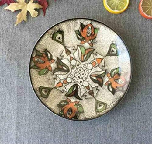 LMMJYF 8 Zoll exotische handbemalte marokkanische Italien Bohemian Style Teller Bunte Salatteller Speisen runde Dekoration Teller Geschenke-16