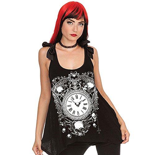 Jawbreaker Steampunk - Camiseta de tirantes para mujer, estilo gótico, reloj romano, reloj vintage con punta de calavera en la parte trasera Negro S
