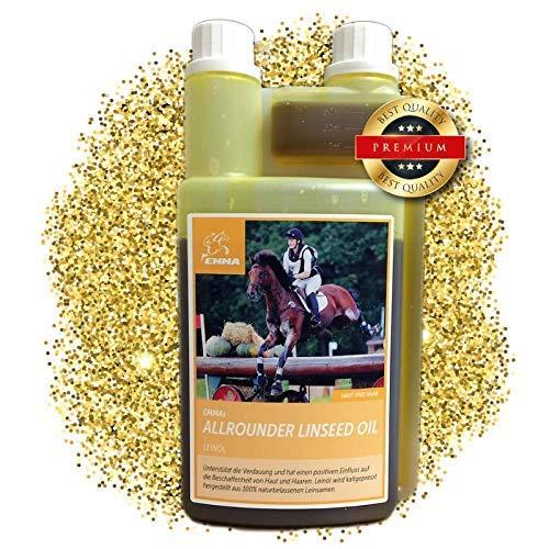 EMMA® lijnzaadoliepaarden I lijnzaadoliehonden I lijnzaadolie glanzende vacht van geplette vlaszaden I Omega 3 6 9 Koudgeperste olie voor paarden 1 liter