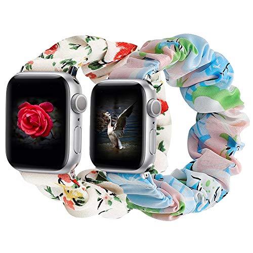 Vecann Scrunchie Correa Elástica Compatible con Apple Watch Correa 38 mm 42 mm 40 mm 44 mm, Patrón Estampado Cómoda Pulsera De Tela Compatible con iWatch Series SE 6 5 4 3 2 1