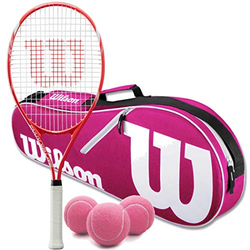 """Wilson Triumph Pre-Strung Pink/White Tennis Racquet (4 1/4"""" Grip) Set or Kit Bundled with a Pink/White Advantage 2-Pack Tennis Racket Bag and a Can of Tennis Balls"""