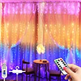 LED Window Curtain String Light -3MX2.8M 280 LED 8 Modes Fairy Lights with Hook Remote Control USB Powered Waterproof Copper Wire Decor Lights for Christmas Bedroom Party Wedding (Multicolor)