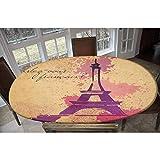 Mantel ajustable de poliéster elástico, diseño cursivo francés, silueta de Doodle Eiffel, estampado retro, impresión rectangular, ovalada, para mesas de hasta 122 cm de ancho x 172 cm de largo.