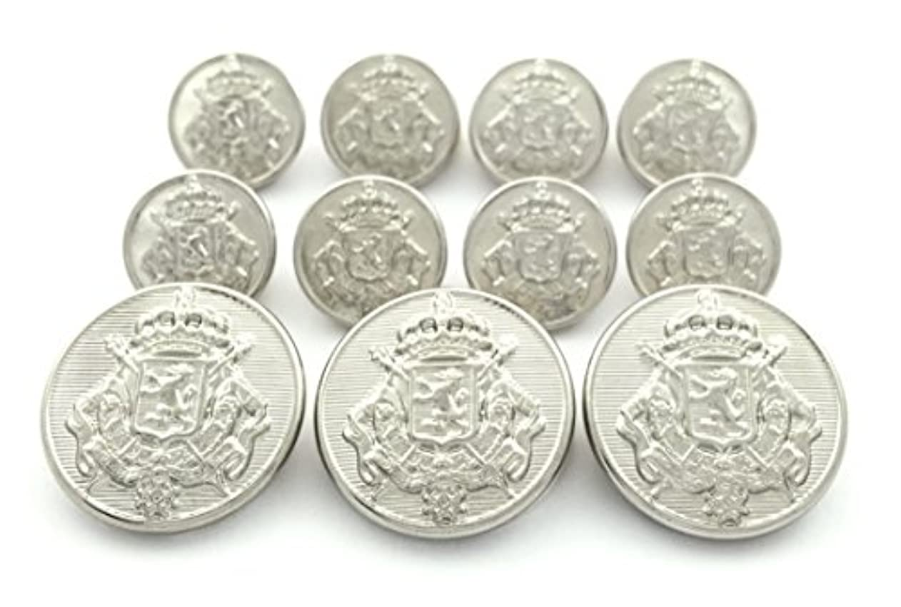 MetalBlazerButtons.com Brand Silver Heraldic Lion Crest - (11-Button, Single Breasted) Metal Blazer Button Set - 7/8