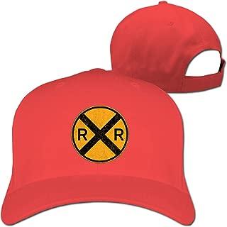 GefmGrfm Railroad Crossing Round Metal Unisex Adjustable Baseball Hat Sunbonnet Plain Hat Golf Snapback Cap