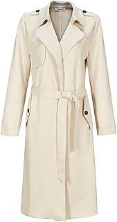 NOBLEMOON Women's Hooded Outwear Cardigan Long Sleeve Medium Length Trench Coat Suede