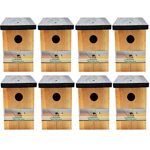 8 x Handy Home and Garden Druckbehandelter Hölzerner Wildvogelhaus-Standardholz-Nistkasten - Natürliche Vogelnistkästen