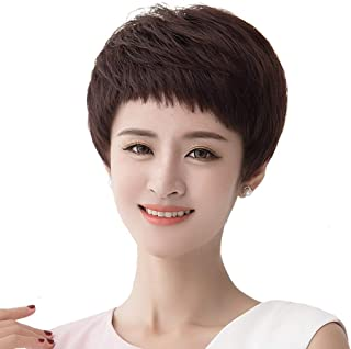 Wig Female Short Hair Short Straight Hair Wig Short Hair Wig Real Hair Hair Fluffy Natural Wig Set (Color : Brown)