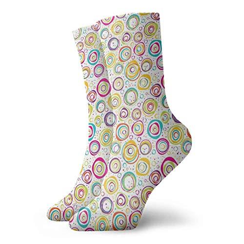 Tommy Warren Calcetines Cortos,Patrón con círculos y puntos, anillos de burbujas, disfrute primaveral manchado,Calcetines De Deporte Transpirables Calcetines Deportivos