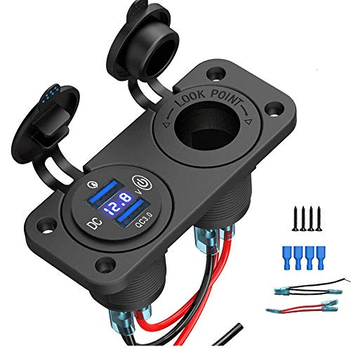 QC3.0 Presa USB per Auto USB Accendisigari Caricabatteria Presa per splitter con Interruttore Touch e Voltmetro a LED Adattatore 12V impermeabile per Veicoli Moto Auto Barca Marino