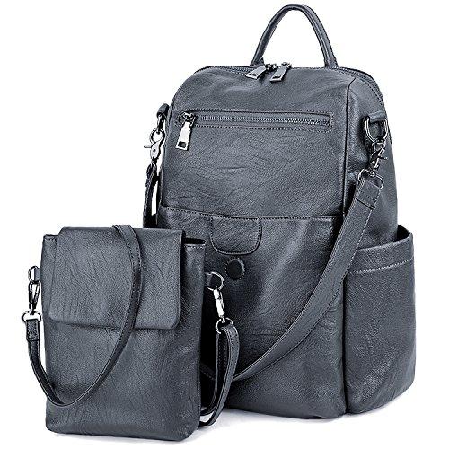 UTO Women Backpack Purse PU Washed Leather Ladies Rucksack Detachable Crossbody Shoulder Bag B Grey