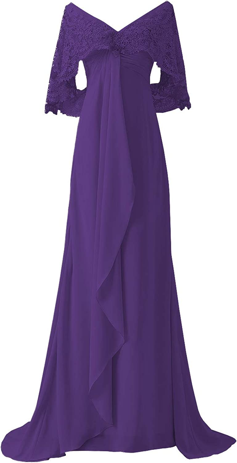 Women's Lace Formal Bridesmaid Plus Size Dresses Mother of The Bride Groom Dress for Evening Wedding(US8,Purple)