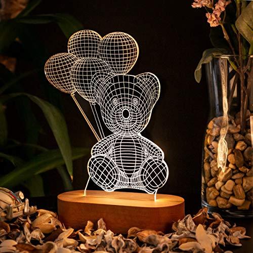 Lámpara de Noche Romántica 3D. Lámpara Efecto 3D Adorable Diseño. Lámpara de Acrílico de Escritorio para Novia. Luz LED 3D con Oso y Globos
