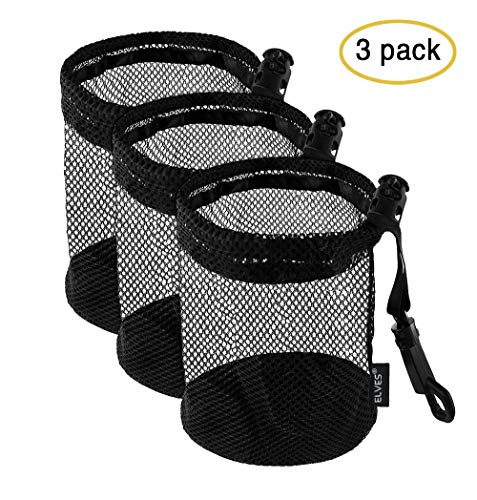 ELVES 3 PCS Lightweight Nylon Mesh Golf Ball Bags with Sliding Drawstring Cord Lock Closure, Can Hold 12 Golf Balls,Black Mesh Bag for Golf Tennis Balls,Gym,Shower,Washing Toys,Diving