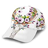 Nicokee Western Mystical Deer Skull Hat Baseball Cap Rose Flowers Bohemian Vintage Animal Floral Death Adjustable Snapback Hats Ball Hat Sport Hat for Men and Women