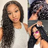 Water Wave Lace Closure Wig Human Hair Brazilian T part Lace Wigs Pre Plucked with Baby Hair HD Transparent Lace Wig 4x4x0.5 T Shape Curly Lace Front Wigs for Black Women 150% density (16 inch)