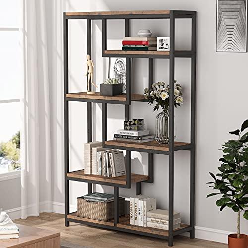 Tribesigns Bücherregal, industriell, 5 Etagen, freistehendes Regal für Wohnzimmer, Büro (Braun)