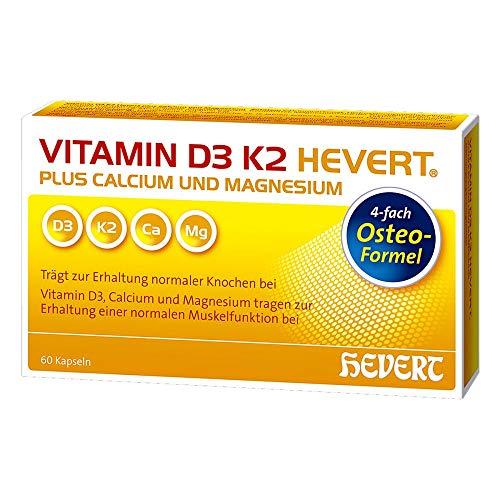 Vitamin D3 K2 HEVERT Kapseln plus Calcium und Magnesium, 60 St. Kapseln