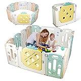box per bambini, 12 + 2 pannelli barriera di sicurezza in plastica ecologica e atossica, griglia di protezione pieghevole con porta e giocattoli vari, facile installazione, interno ed esterno