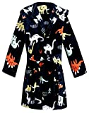 Kids Little Boys Girls Cartoon Animal Hooded Bathrobe Toddler Robe Pajamas Sleepwear (Black dinosaur robes, 4-5T)
