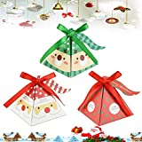 PERFETSELL 30 Pcs Cajas de Dulces Navideñas 8x8x9cm Cajitas de Navidad para Dulces Cajitas Caramelos Cajas de Chuches para Regalar Cajitas Sorpresa de Papel para Regalo Dulce Cumpleaños + 30 Etiqueta