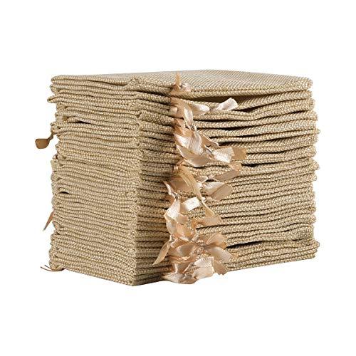 Tyhbelle 20 Stücke Jutesäckchen Jute Beutel 10 x 15 cm Säcke für Adventskalender Schmuck Gastgeschenke und DIY Handwerk, Jutebeutel, Stoffbeutel zum Befüllen - Weihnachten (Beige)