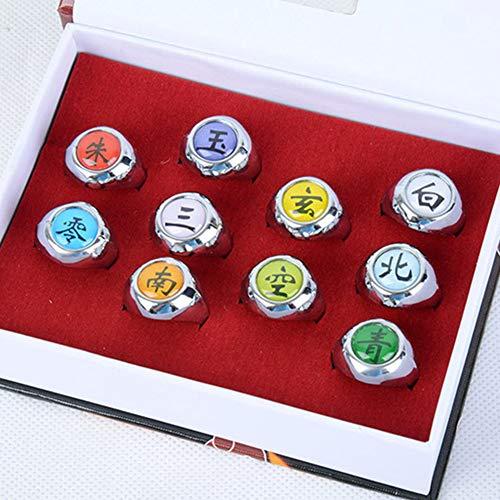 Phoetya - Naruto Akatsuki - Juego de 10 anillos de Naruto para miembros de Cosplay