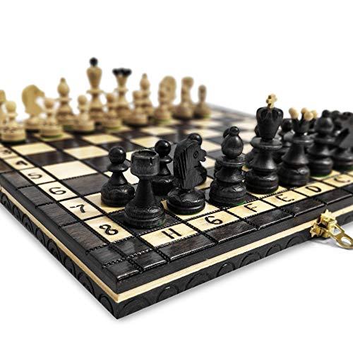 KHAPLO ® – Juego de ajedrez de madera de lujo – Capaz plegable – Hecho a mano – 31 x 31 cm – Bandeja de viaje – Modelo Roma – Negro – Chess Set – Juego de mesa – Juego de mesa – Juego de ajedrez ✅