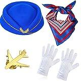 Haichen Damen Stewardess Kostümzubehör Flugbegleiterin Hut mit Stewardess Cosplay Kostümzubehör...