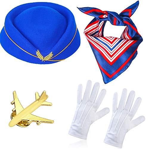 Haichen Damen Stewardess Kostümzubehör Flugbegleiterin Hut mit Stewardess Cosplay Kostümzubehör - 4 Stück (B)