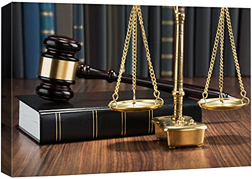 Wooden Gavel & Scales of Justice Art