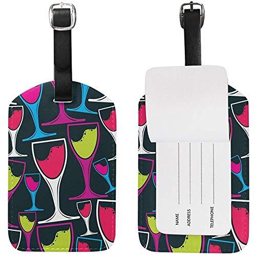 Bunter Wein-Becher-Gepäckanhänger-Reise-Identifikations-Aufkleber-Leder für Gepäck-Koffer 1Pc