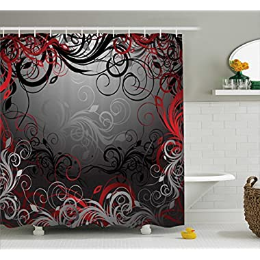 Red and Black Shower Curtain by Ambesonne, Mystic Magical Forest Inspired Floral Swirls Leaves Nature Artwork, Fabric Bathroom Decor Set with Hooks, 70 Inches, Charcoal Grey Ruby