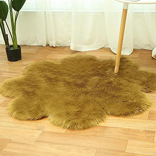 WEIDD Fur Faux Artificial Sheepskin Carpet Washable Seat Pad Fluffy Rugs Hairy Wool Soft Warm Carpets For Living Room/Living Room/Bedroom/Rug Antiskid Soft,Ejercito Verde 128 cm de diámetro