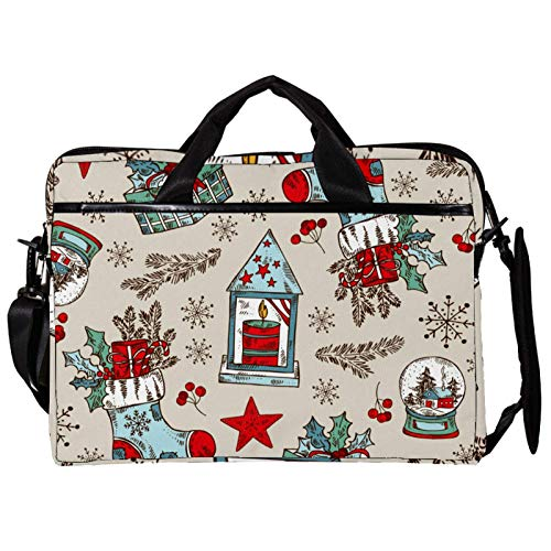 14.5 Inch Laptop Messenger Bag Canvas Briefcase Christmas Gifts Pattern Satchel Shoulder Bag with Detachable Straps