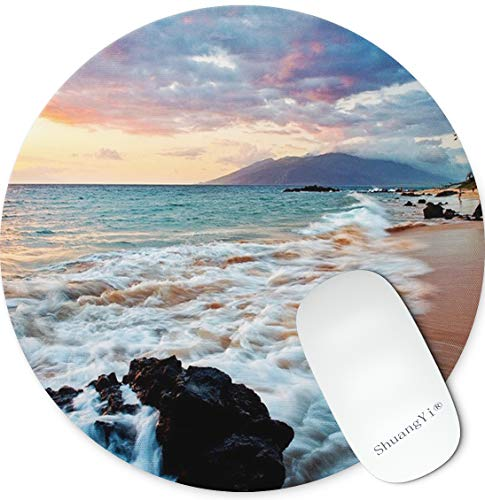 Shuangyi Beach Maui Hawaii Beautiful Sunset Sea Waves Clouds Mouse Pad Mat Non-Slip Rubber Round Mouse Pads for Computers Laptop