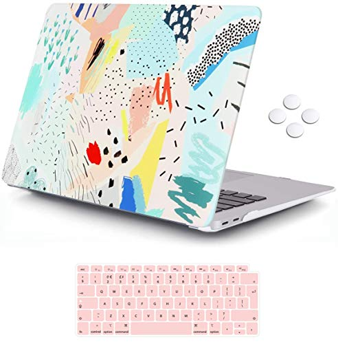 MacBook Air 13 inch Case 2020 2019 2018 Release A2337 M1 A2179 A1932, iCasso Plastic Hard Shell Case Cover and Keyboard Cover Only Compatible MacBook Air 13'' with Touch ID Retina Display - Cartoon