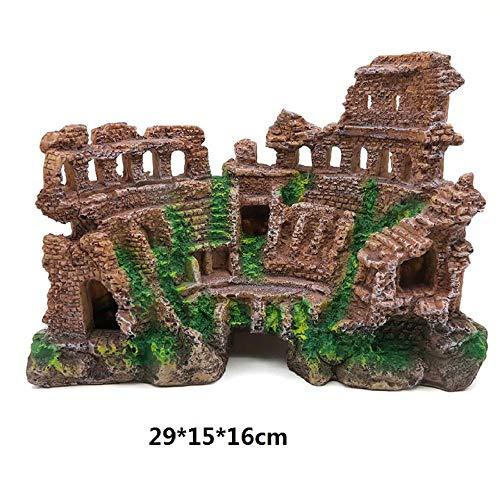 Aquarium Dekoration Simulation Harz Ornamente Römische Säule Ruinen Schloss Felsen Für Reptilien Und Amphibien Holzdeko Ornamente