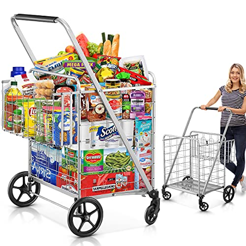 Shopping Cart, 440 lbs Upgrade Super Capacity Grocery Cart Extra Jumbo Double Basket Folding Shopping Cart with 360° Rolling Swivel Wheels Utility Shopping Cart for Laundry, Grocery, Shopping, Baggage