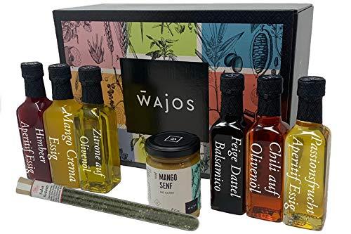 Wajos Essig / Öl Set mit Geschenkbox - Tolles Geschenk für Hobbyköche - Mitbringsel zur Grillparty - Geschenkkorb / Feinkost