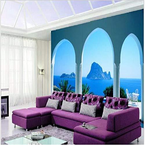 Shuangklei aangepaste fotobehang De luxe Hd-Middellandse Zeearchitectuur van de boog 3D gebogen blauwe oceaanzeehintergrond 200 x 140 cm.