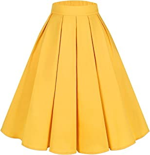 PrePretty Women's Vintage A-line Printed Flared Midi Skirts with Pleated